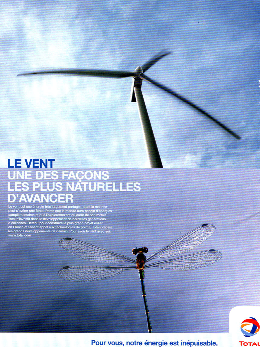 Publicité greenwashing Total éolienne