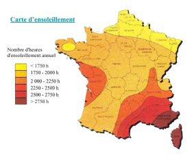 Temps d'ensoleillement moyen en France