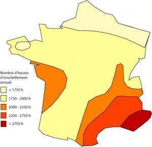 Ensoleillement moyen annuel par région en heures