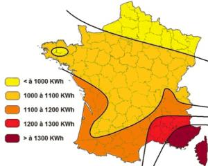 Production annuelle possible en kWh pour 1kWc installé selon les régions