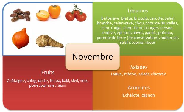 Les fruits et légumes d'automne - Novembre