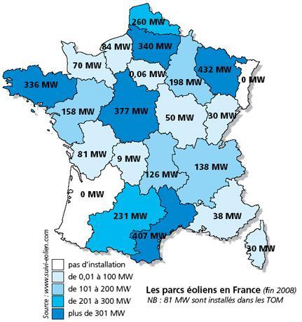 carte de france eolienne