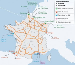 Carte de France du gaz GNL