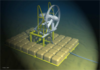Une hydrolienne implantée en fonds marins