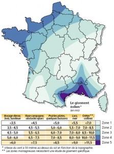 Vitesse du vent en France