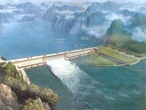 Barrage hydroélectrique sur le Yang-Tse-Kiang (Chine)