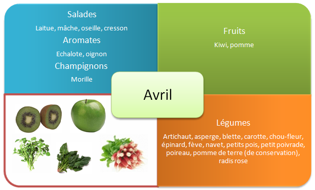 Fruits et legumes de printemps - Avril