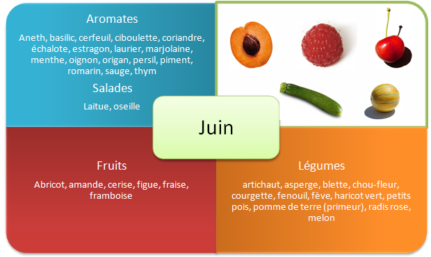 Fruits et legumes de printemps - Juin