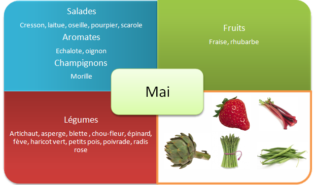 Fruits et legumes de printemps - Mai