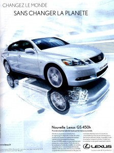 Publicité greenwashing Lexus