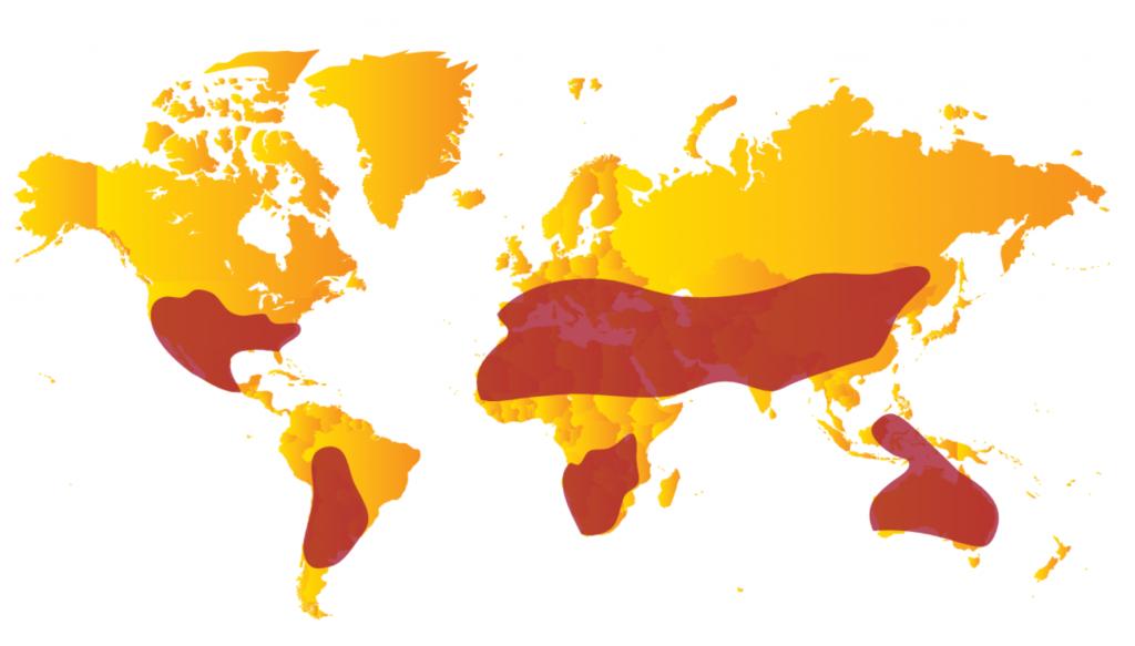 zones les plus favorables à l'utilisation de l'énergie solaire à concentration (thermodynamique et photovoltaïque)
