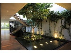 Exemple de jardin dans un espace perdu, assez classique mais bien réussi qui allie lumière et végétal
