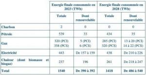 Energie finale consommée en 2023 et 2028 par source (TWh)