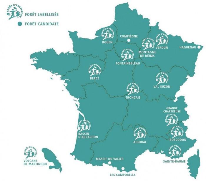 la carte des forêts d'exception françaises